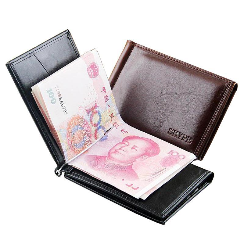 Hot Sale Business Portable Style Men money Clip Wallets With Metal Hasp Card Slots Black Brown Colors Slim Wallet Free Shipping hot sale men s genuine leather wallets hasp cross vertical black brown colors change coins purse wallets for men free shipping
