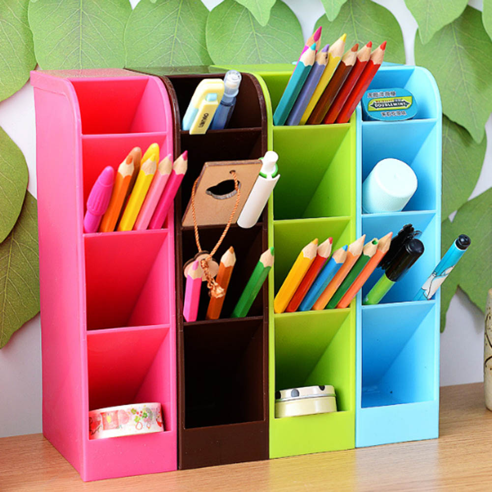 Plastic Office Desktop Storage Box Stationery Pen Pencil Box Holder Cosmetics Makeup Organizer Remote Control Case Container
