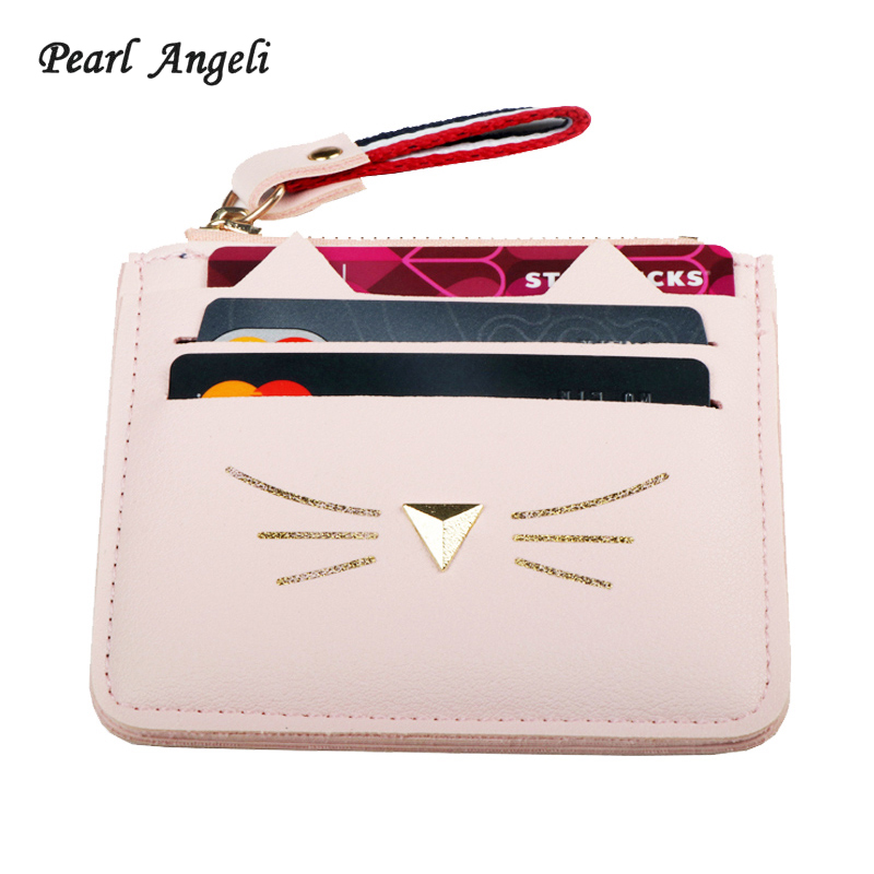 купить QIMANSHI Women Coin Purses Card Holder Wallet Mini Credit Card Holders For Female Lovely Cat Ear Cash Card Purse онлайн