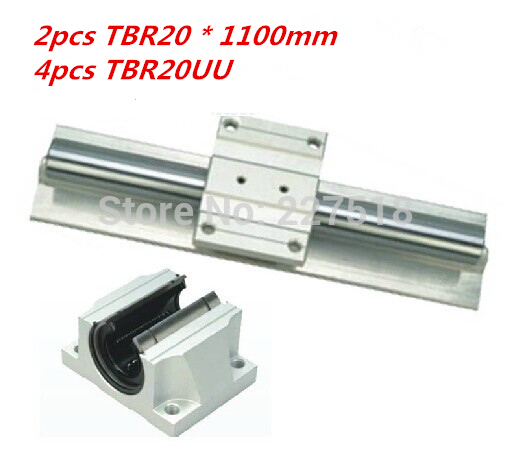 цены Support Linear rails Assemblies 2pcs TBR20 -1100mm with 4pcs TBR16UU Bearing blocks for CNC Router