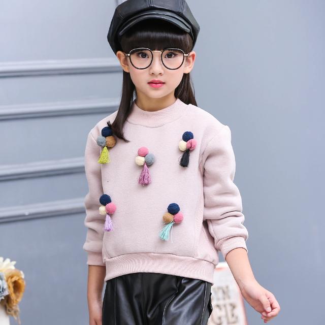 2016 moda de Invierno de alta calidad nuevo Caliente de manga larga suéter de Los Niños Camisa de la Muchacha Muchacha de suéter ropa de los cabritos