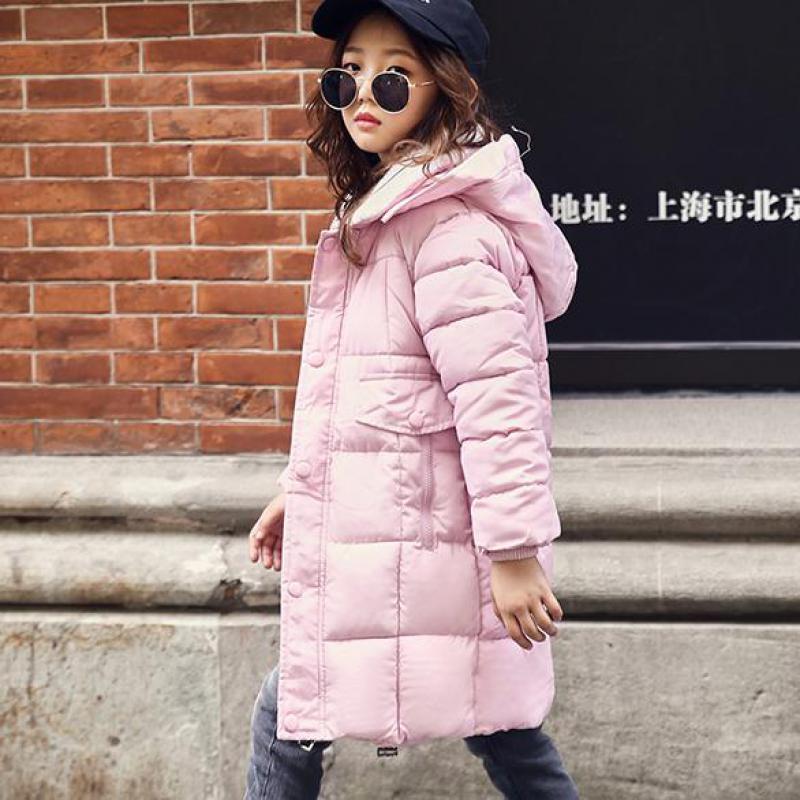 Winter Jacket Kids Girls 2018 New Thicken Warm Hooded Cotton Down Padded Coat Down Girls Outerwear Coats Winterjas Meisjes 10 12 цена