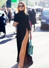 NiceMix 2019 new fashion turtleneck femal one sid slit long dresses elegant winter autumn spring pullover asymmetrical