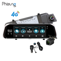 Phisung ADAS Car DVR 4G Android GPS Navi 10 IPS Touch FHD 1080P Dash Cam Camera Video Recorder Auto Registrar Streaming Mirror