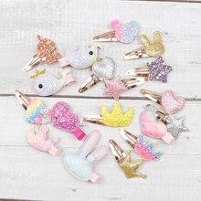 AHB 6pcs/lot Hair Accessories Cartoon Glitter Clips for Baby Girls Princess BB Hairpins Korean Unicorn Barrettes