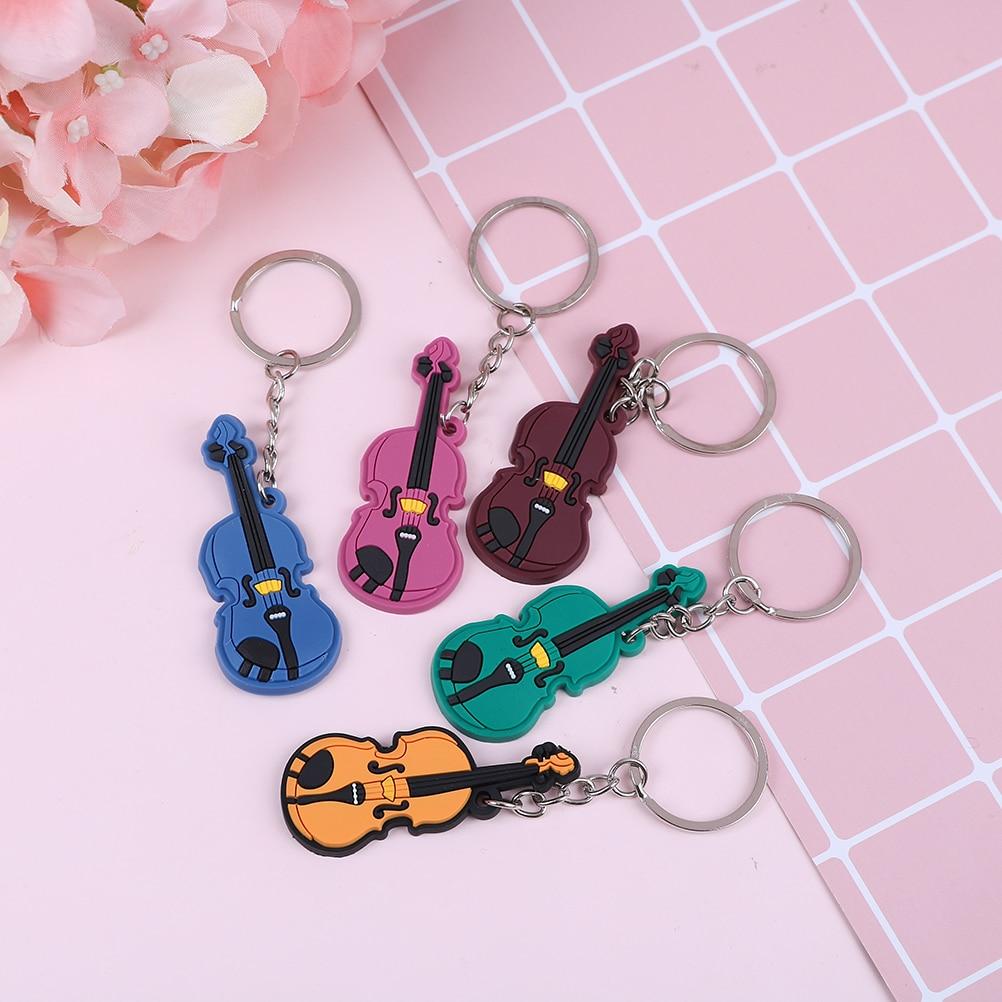 Creative Violin Guitar Musical instrument keychains violin keyring pendant Music Keychain Key Ring Chain