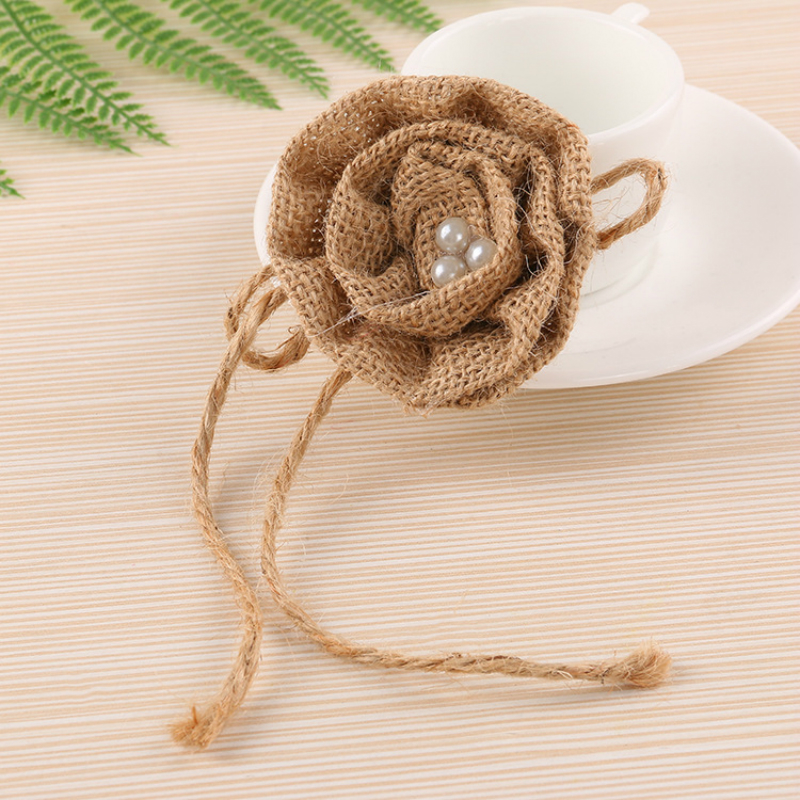 9pcs Natural Linen Jute Burlap Pearl Flower Handmade DIY Craft Accessories Christmas Home Decor Rustic Wedding Party Decoration in Party DIY Decorations from Home Garden