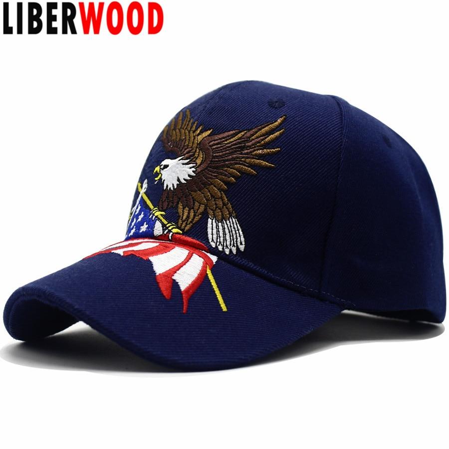 LIBERWOOD Патриотический американский Орел и американский флаг бейсболка США лысый орел 3D вышивка Снэпбэк кепки Мужская кепка