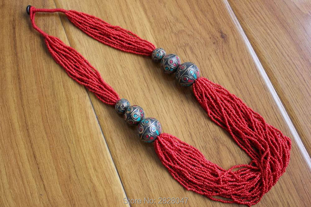 NK186 Ethnic Tibetan Necklace Red Coral Mini Beads Long Necklace Nepal Handmade Round Beads Multi Rows Necklaces New Arrival