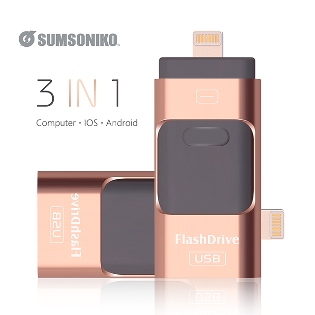 USB Flash Drive For iOS/Android/Computer 3IN1 Mobile Flash Disk Gift Pen Drive 128GB 64GB 32GB 16GB 8GB