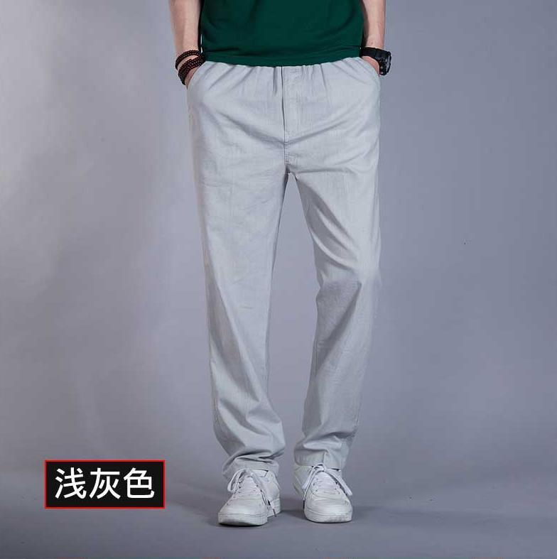 Мужские весенние размера плюс средняя эластичная талия Свободные Полная длина Прямые льняные штаны Мужские дышащие одноцветные хлопковые брюки