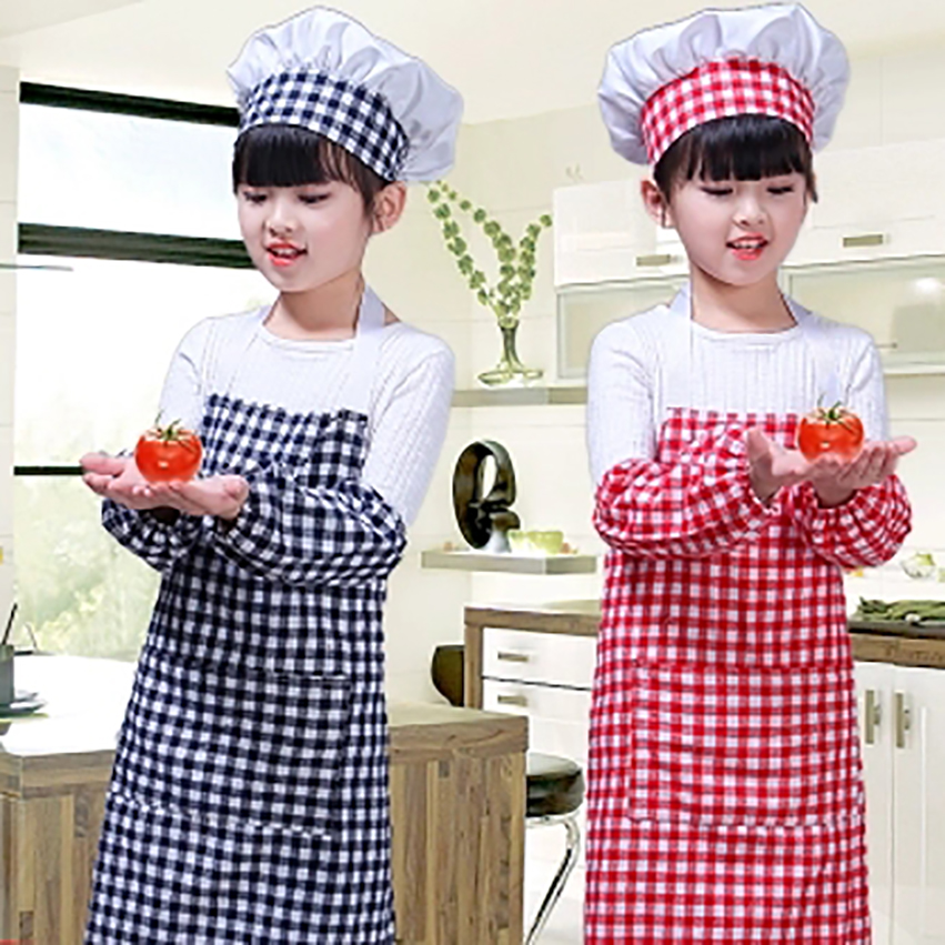 100-160cm Kids Costumes Chef Uniform Cooking Baking Party Performance Oil-proof Apron Baby Boy Girl DIY Painting Child Pinafores
