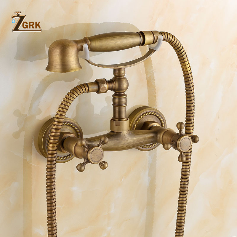 ZGRK Bathtub Faucets Brass Bathroom Faucet Mixer Tap Wall Mounted Bath Faucet with Hand Shower Antique Bronze Bath Shower Set bathtub faucets antique brass bath rain shower faucet head and handheld shower faucet 2 handel bathroom wall mounted tap lj10119