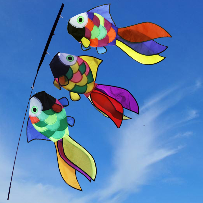 Kids Toys Nylon Rainbow Fish Windsock 3pcs Outdoor Garden Backyard Decorative Kite Windsock Festival Wind Spinner enhanced windsock wind vane double frame skeleton