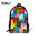 Fashion Women Canvas Backpack Colorful Tetris School Bags Kids Girls School Backbag Children School Book Bags Mochila Feminina