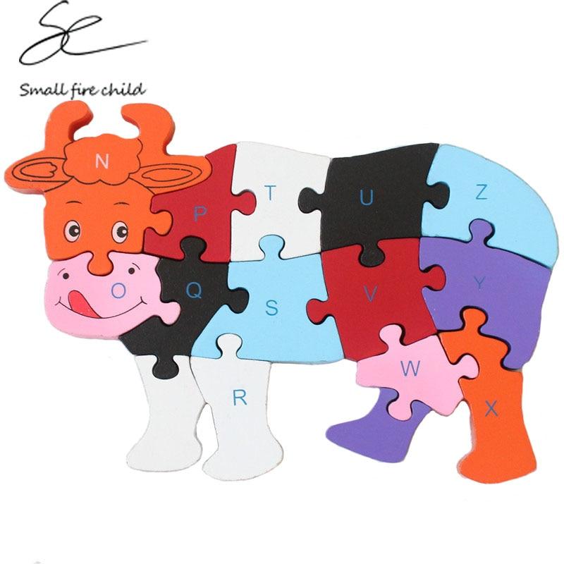 Новинка 2017 года детей разведки Новинка пазл коровы головоломки с объемным деревянные головоломки раннее образование поставки