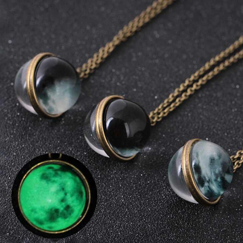 Duplex planète cristal étoiles boule de verre modèle en cuir chaîne pendentifs Maxi collier pour femme petite amie cadeau