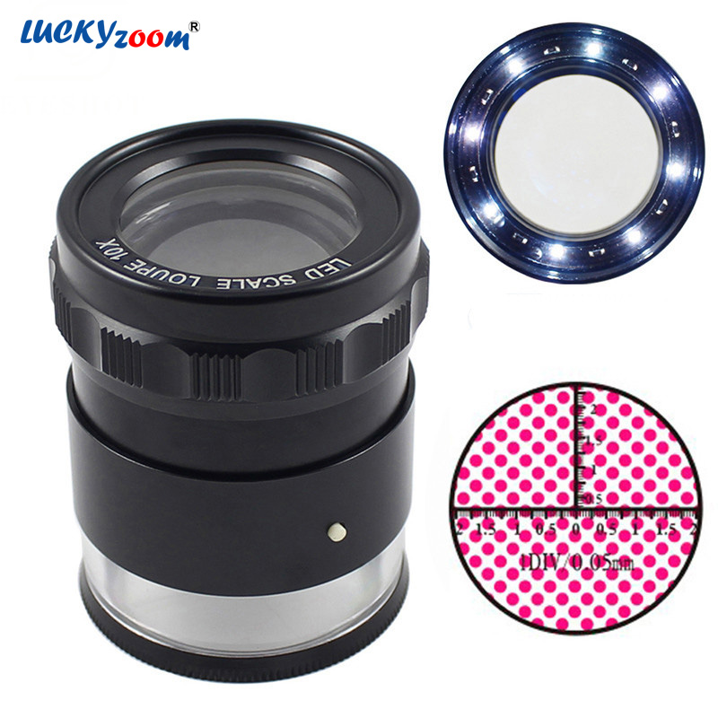 10X Zoom Metal Magnifier LED Illuminated Lamp Jewelry Loupe Focus Adjustable Cylindrical Measuring Magnifying Glass With