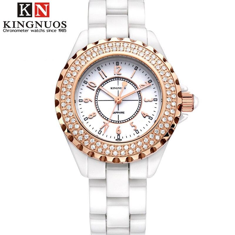 Kingnuos brand casual women wristwatch fashion simple watch waterproof ceramic strap quartz for Kingnuos watch
