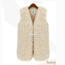 2015 New Fsahion Mongolia Sheep Fur Vest Women Faux Fur Vest Faux Fur Coat Colete Feminino Black/Beige