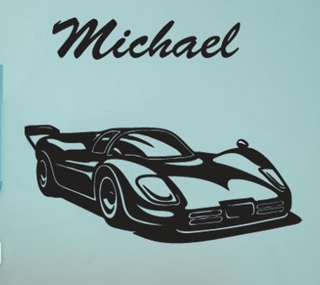 Customise Name U0026 Race Car Wall Sticker Racing Car Silhouette Mural Art  Vinyl Wall Decal Bedroom Boyu0027s Room Home Decoration Part 57