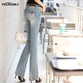 Embroidery Jeans Women Slim Flare Pants 2017 New Casual Female Denim Jeans Trousers Blue JRSJ33