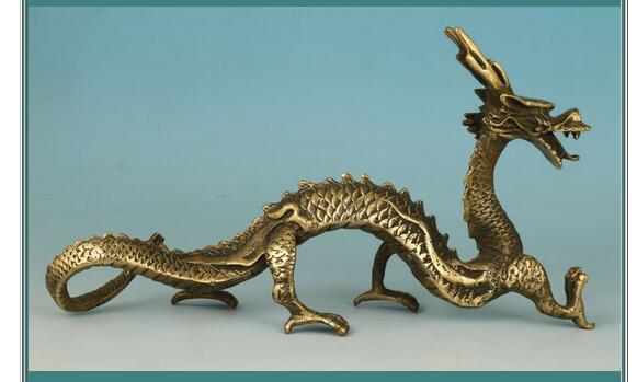 Pure Copper Gilt Tastefully Chinese OldTastefully Chinese Old Collection Handmade Carved Dragon Statue Decor