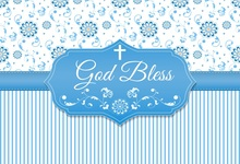 Laeacco Baby Shower God Bless You Stripes Flower Pattern Photographic Backgrounds Photography Backdrops For Photo Studio