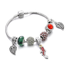 Vintage Jewelry Women Bracelet Red Green Bead Koi Fish Leaf Ladies Silver Snake Chain Cuff Bracelets Bangles Femme Girl Gift DIY(China)