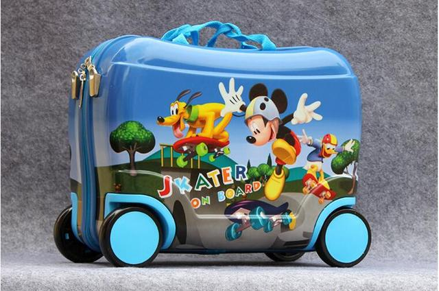New 2016 children fashion luggage  anime rolling luggage Cartoon Mickey   luggage  with wheels