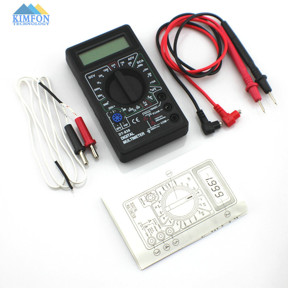Free DHL Fedex 50pcs/lot Digital multimeter DT838 measure the temperature