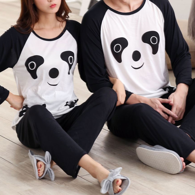 Autumn Couples Sleepwear Cartoon Panda Long Sleeve Pullover Pajamas Set Women Man Casual Nightwear Set