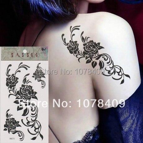 Hm273 Súper Ventas Impermeable Tatuajes Sexy Para Mujer Flor De Rose
