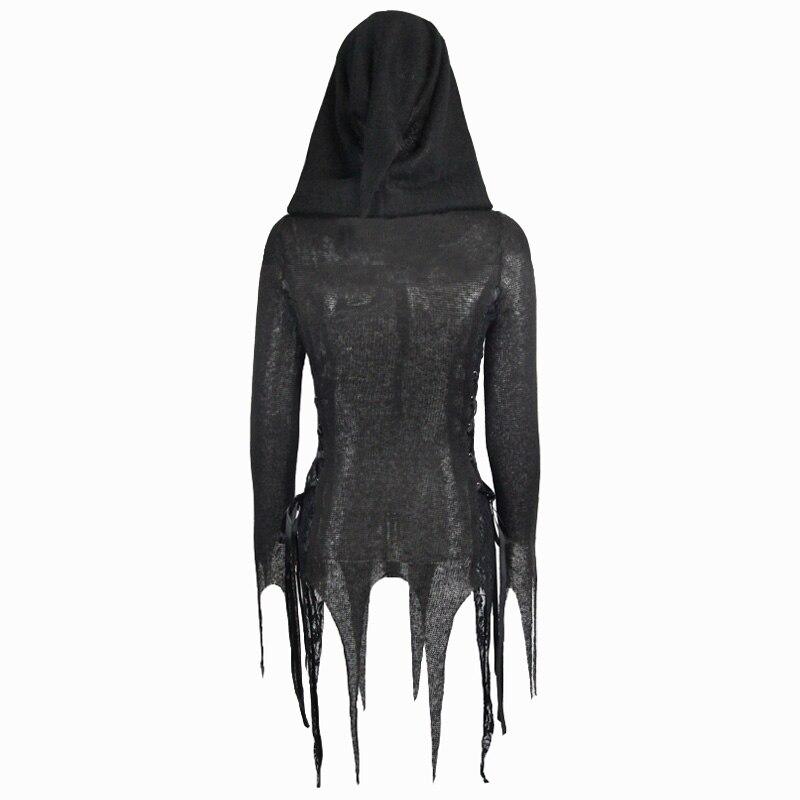 Steampunk femmes noir Sexy Rivet avec à capuche à manches longues T shirts printemps automne mode moulante mince haut pour femme t shirt - 6