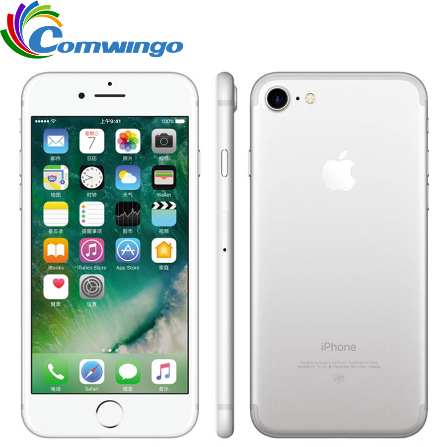 Original desbloqueado apple iphone 7 lte 32/128 gb/256 gb ios 10 12.0mp 4g câmera quad-core impressão digital 12mp 2910ma iphone 7 telefone celular