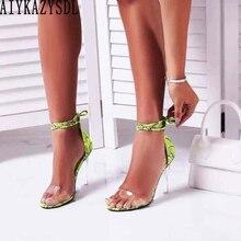 AIYKAZYSDL/женские летние босоножки неонового зеленого цвета; прозрачные босоножки на высоком толстом каблуке из Искусственной Змеиной кожи с ремешком на щиколотке