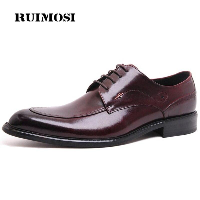 RUIMOSI High Quality Formal Man Bridal Dress Shoes Genuine Leather Wedding Oxfords Luxury Brand Round Toe Men's Footwear QC32