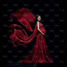 Fancy Pregnancy Photo Shoot Studio Clothing V-Neck Red Maternity Dress Pregnant Photography Props Maternity Gown Dress