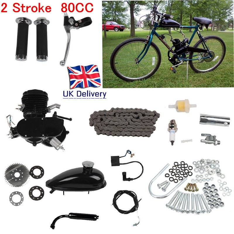 (Ship from EU) Motorized Bicycle 26 or 28 Bike 80cc 2 Stroke Petrol Gas Engine Motor Kit DIY EBIKE ship from usa 2 stroke 80cc motor blike bicycle engine kits gas bike kit c80 with suitable price