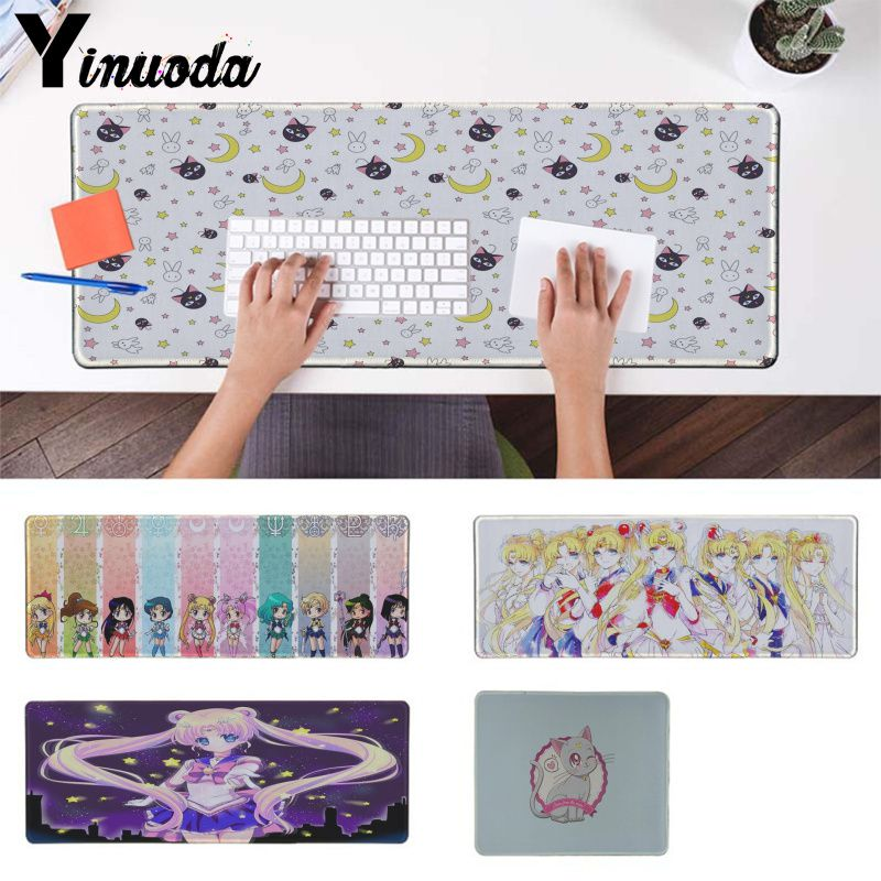 Yinuoda Boy Gift Pad Sailor Moon Cat Gaming Player Desk Laptop Rubber Mouse Mat DIY Design Pattern Computer Gaming Mouse Pad