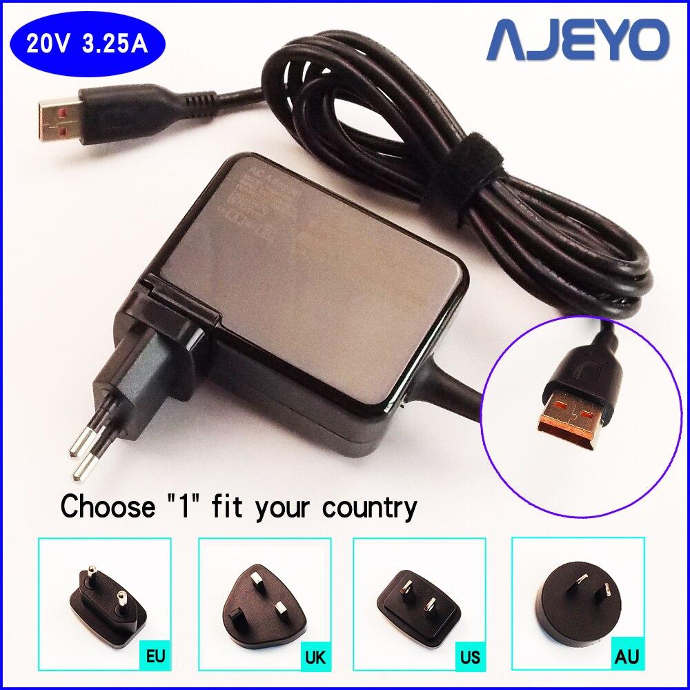 AJEYO 20V 3.25A Laptop Ac Adapter Power Supply Battery Charger for Lenovo ADL65WLD ADL65WLC ADL65WLB ADL65WLA ADL65WDH ADL65WDC