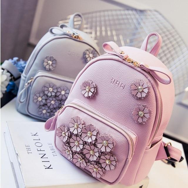 5427d23eb10 Напрямую с фабрики распродажа новых Для женщин Корея Марка PU Рюкзаки  Красивые Цветы принцессы со стразами