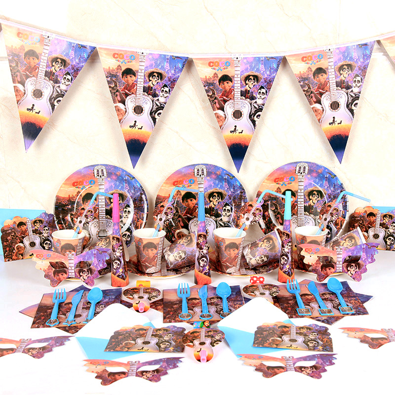 High quality COCO movie Miguel Hector theme Tableware Set total 200 pcs kids Children Birthday Party