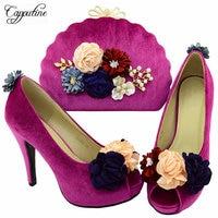 Capputine أعلى جودة الأحذية الأفريقية و أكياس مطابقة مجموعة شحن مجاني الأزياء عالية الكعب الأحذية وأكياس الزفاف BL0028