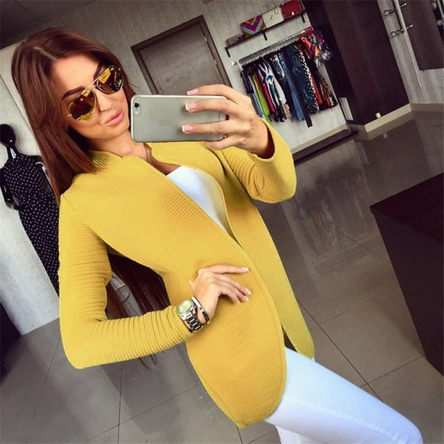 Nueva Otoño Invierno Moda Mujer de Manga Larga suéter que hace punto flojo de Punto Para Mujer chaqueta de Punto Grueso Hembra amarilla WWB27