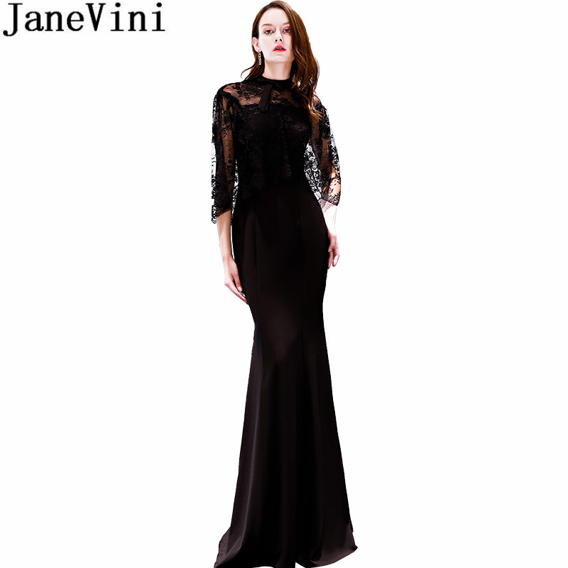 JaneVini Sexy Mermaid Bridesmaid Dresses 2018 Long Tight Fitted Ladies Formal  Prom Gowns High Neck Lace Cape Guest Party Wedding e882e77c9e76