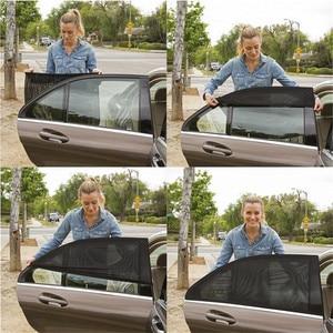 Image 3 - Protección trasera para ventana de coche, parasol de ventanilla trasera de coche ajustable, 2 uds., negro, ajustable, parasol lateral de ventanilla trasera, visera de malla para coche