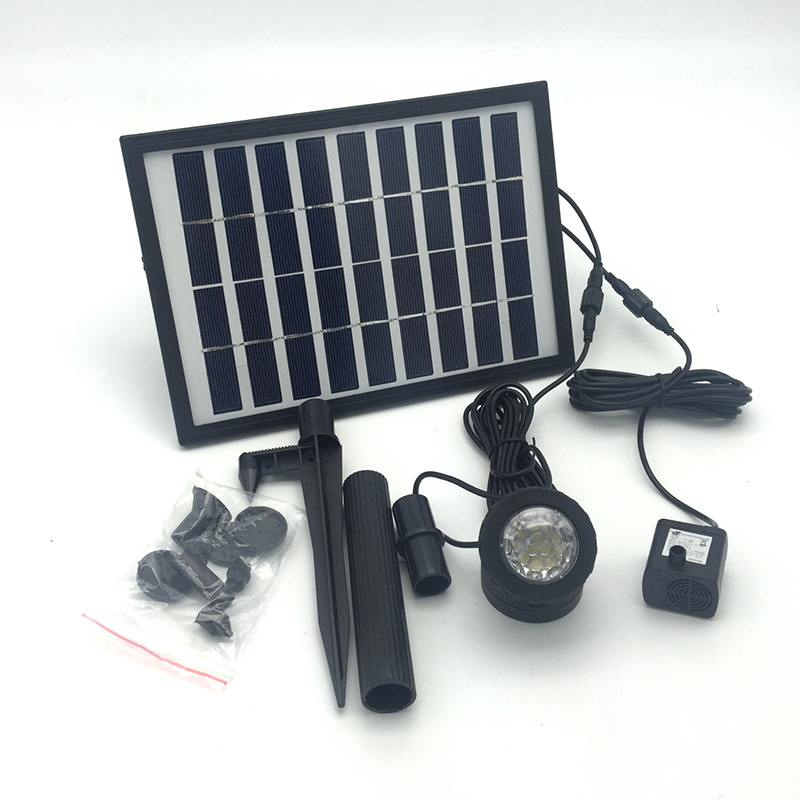 High Quality Solar Panel Battery 9V 5W Solar Water Pump Landscape Fountain with Dive Light