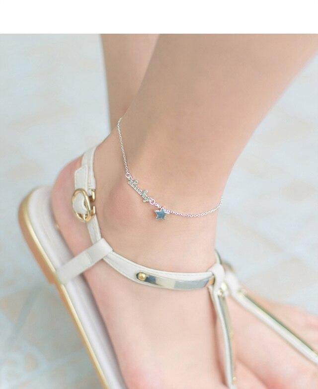 carta estrela sorte tornozeleiras para mulher prata 925 jóias por atacado ds588