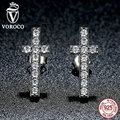VOROCO 925 Sterling Silver Fashion Cross Stud Earrings With AAA Zirconia Push-Back Clasp Earrings for Women Jewelry E036